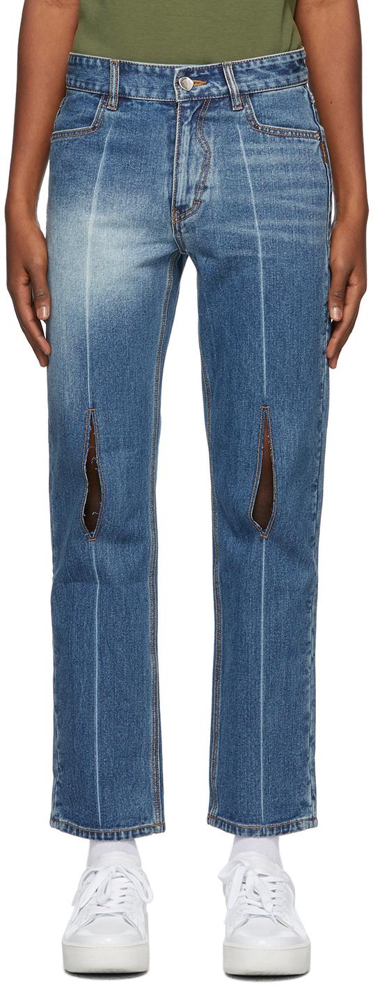 Blue Collage Pollshing Jeans
