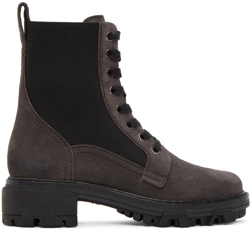 Rag & Bone 棕色 Shiloh 绒面革军风踝靴