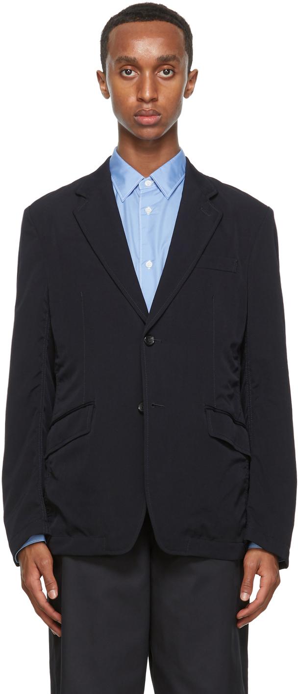 Navy Wool Gabardine Blazer