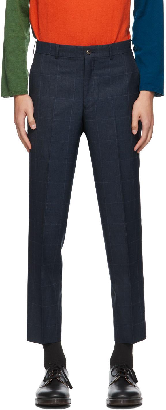 Navy Wool Windowpane Trousers