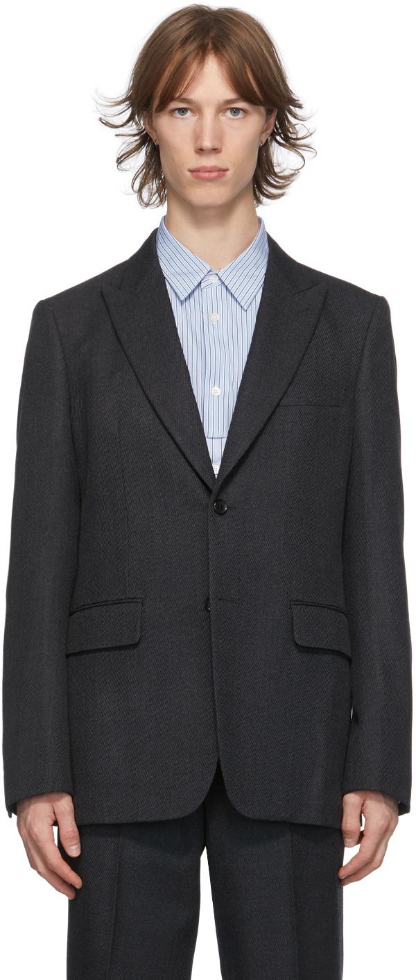 Grey Wool Yarn-Dyed Blazer