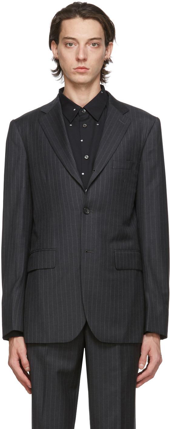 Grey Gabardine Striped Blazer