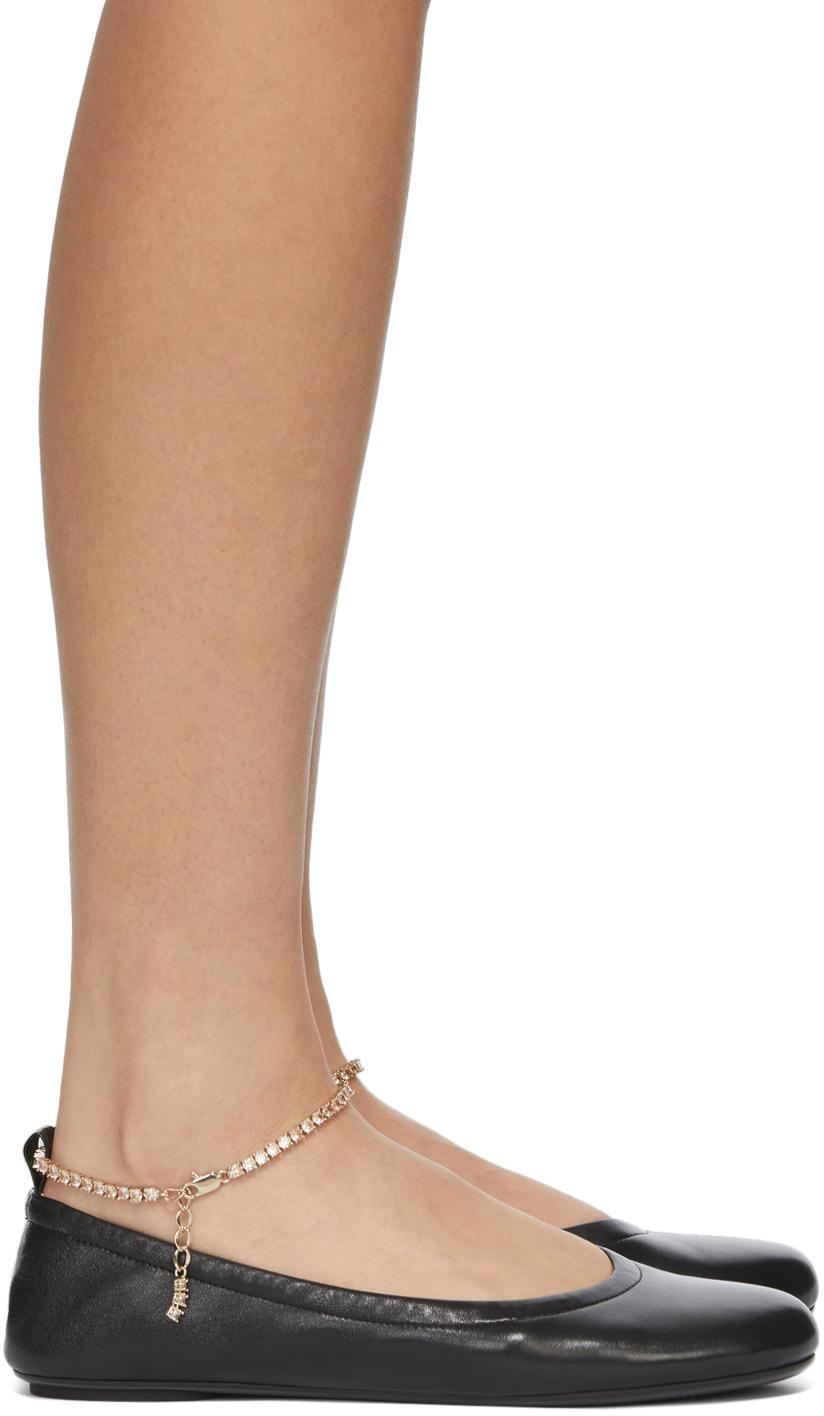 Black Ankle Chain Ballerina Flats