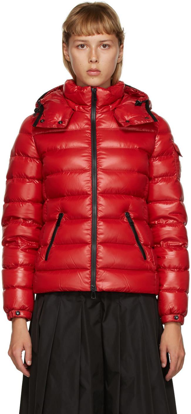 Moncler Bady Fur Trim Down Coat Red