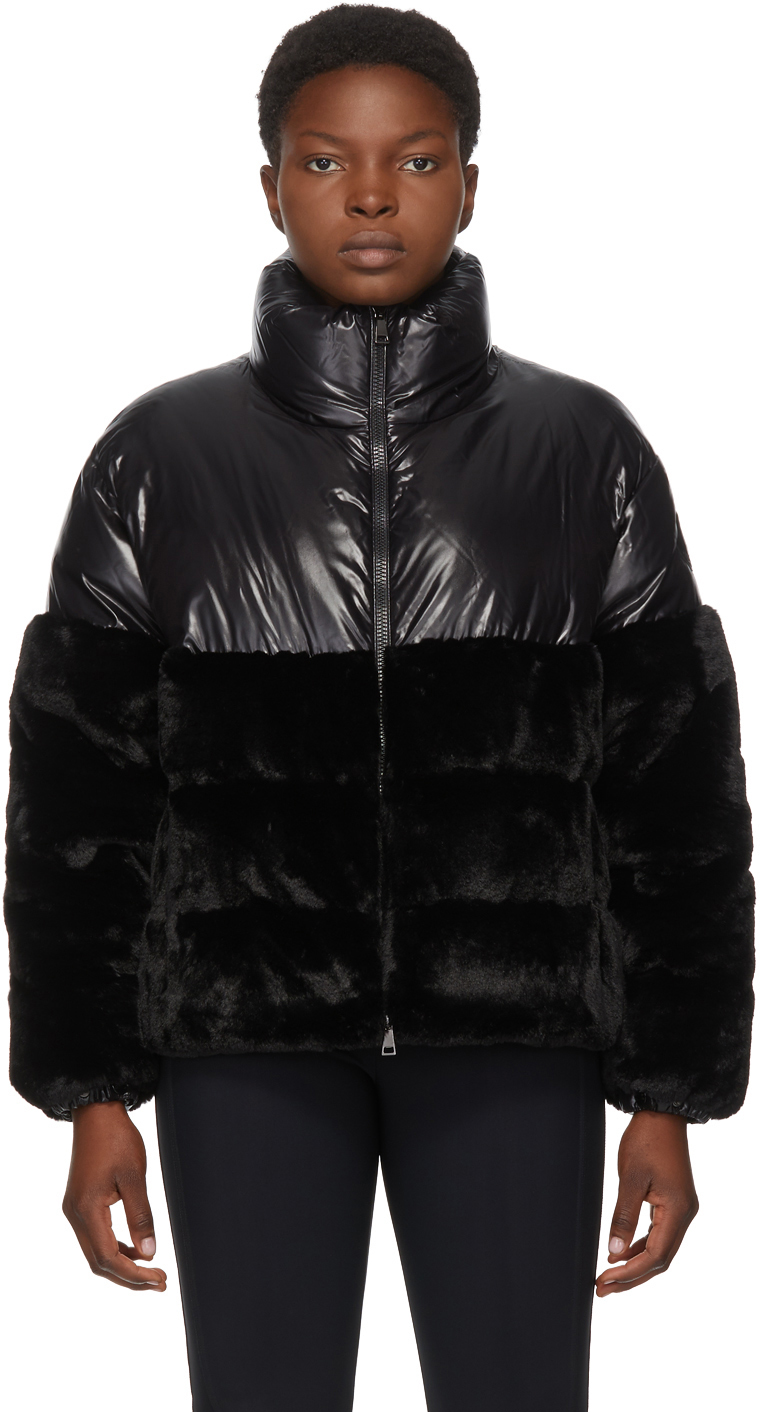 Moncler Black Down Faux-Fur Logo-Dec Jacket