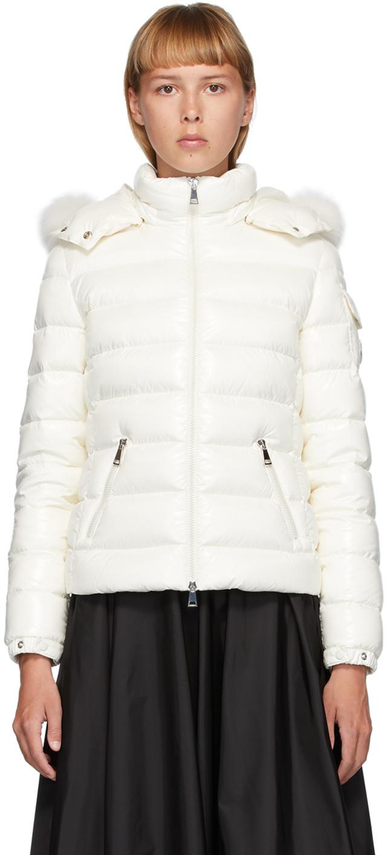 Moncler White Down Badyfur Jacket
