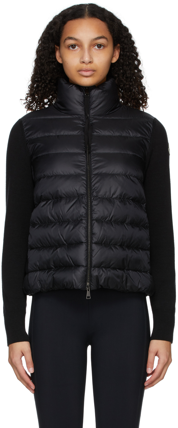 Moncler Black Down Wool Sweater Jacket