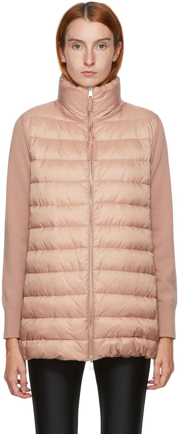 Moncler Pink Down Padded Cardigan Jacket