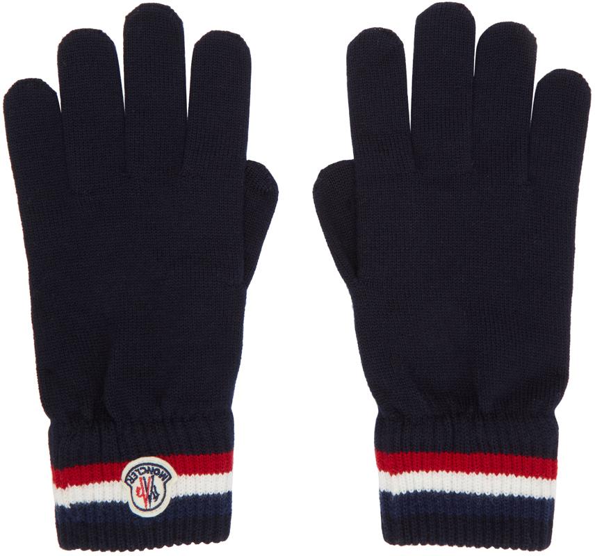 Navy Wool Stripe Gloves