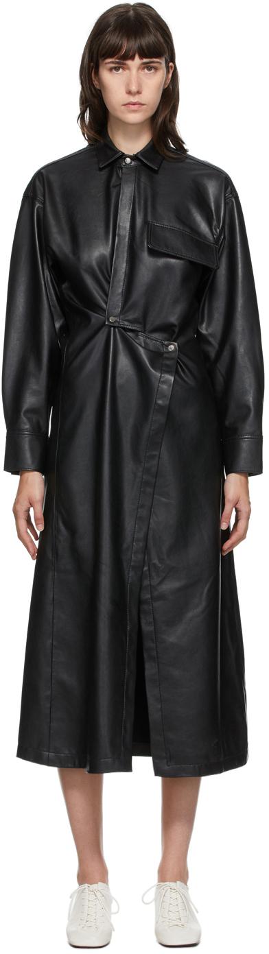 SSENSE Exclusive Black Faux-Leather Snap Front Dress