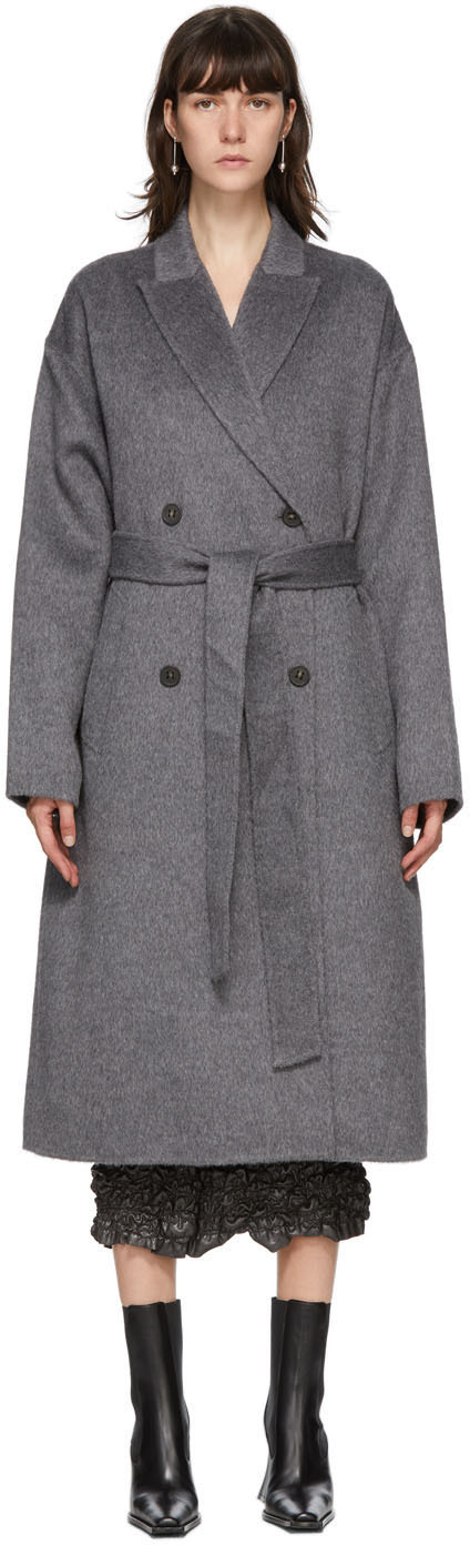 Acne Studios Grey Wool Double Breasted Coat 202129F059014