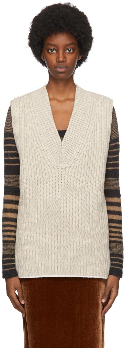 Acne Studios Beige Wool Silk Vest 202129F068234
