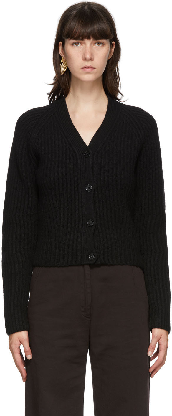 Acne Studios Black Ribbed Wool Cardigan 202129F095024