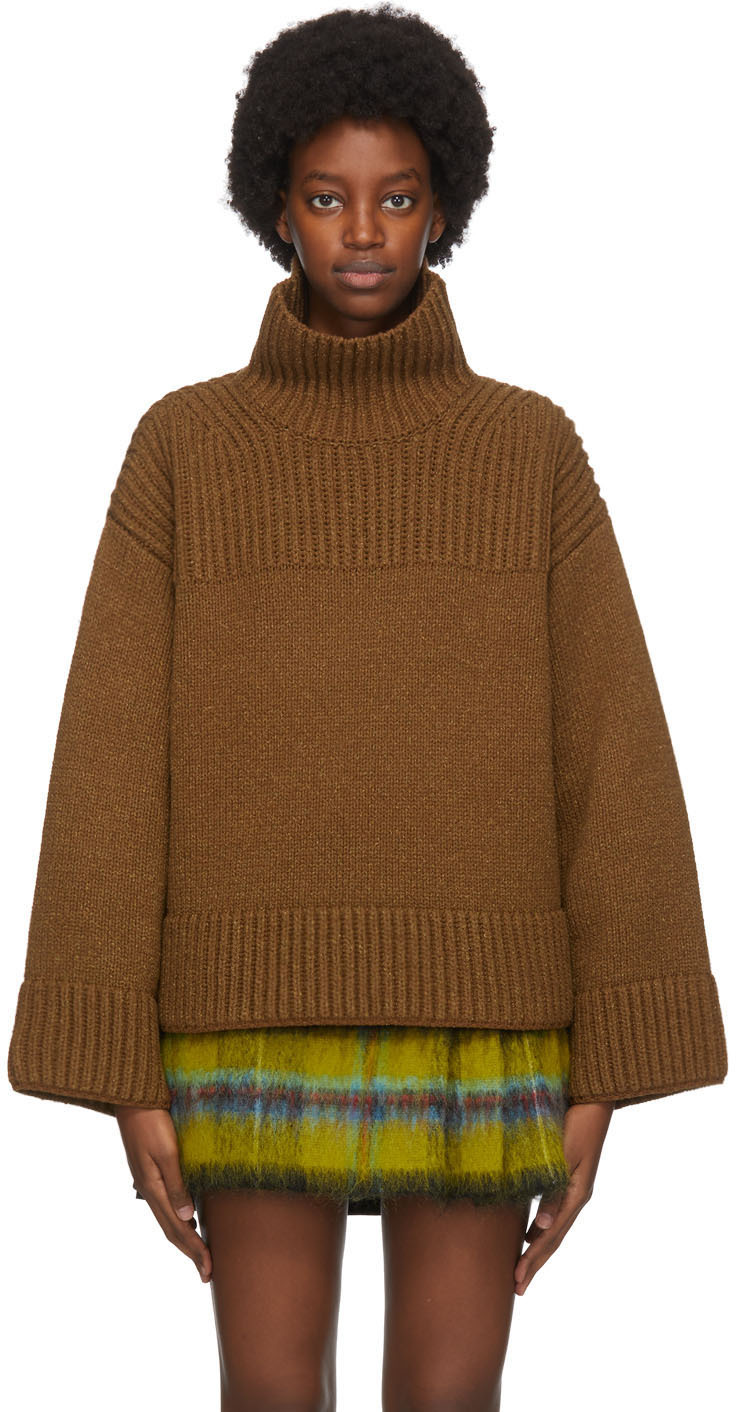 Acne Studios Brown Wool Silk Rib Knit Turtleneck 202129F099212