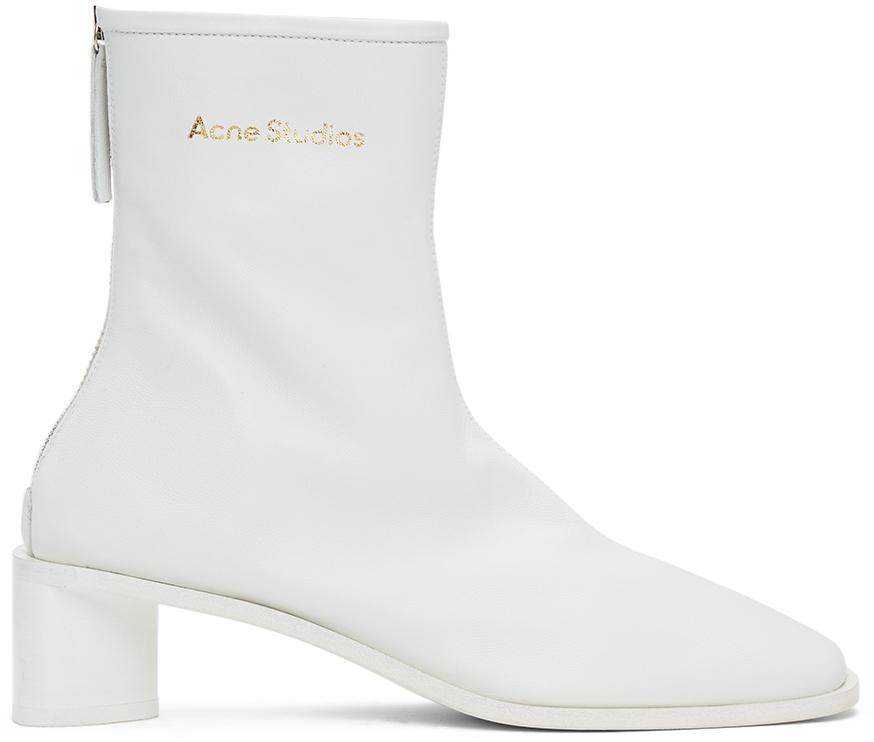 Acne Studios: White Branded Heeled