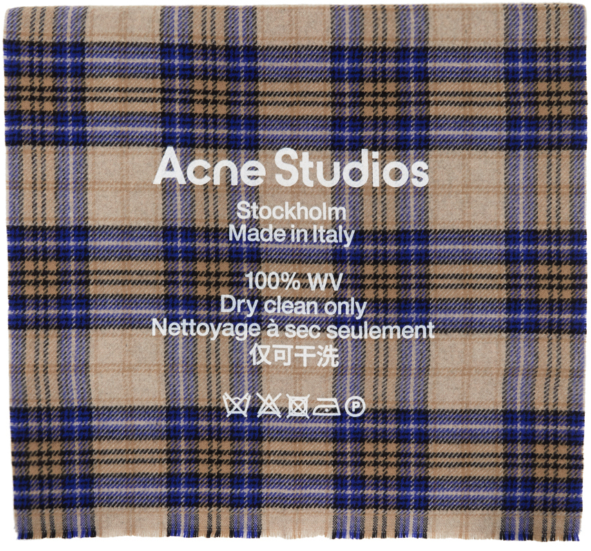 Acne Studios Beige Blue Cassiar Tartan Scarf 202129M150057
