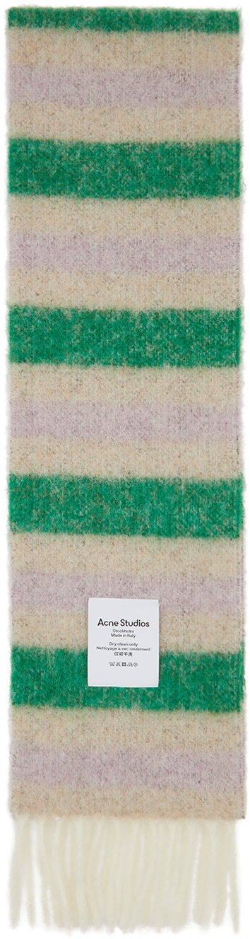 Acne Studios Green Beige Alpaca Striped Scarf 202129M150065