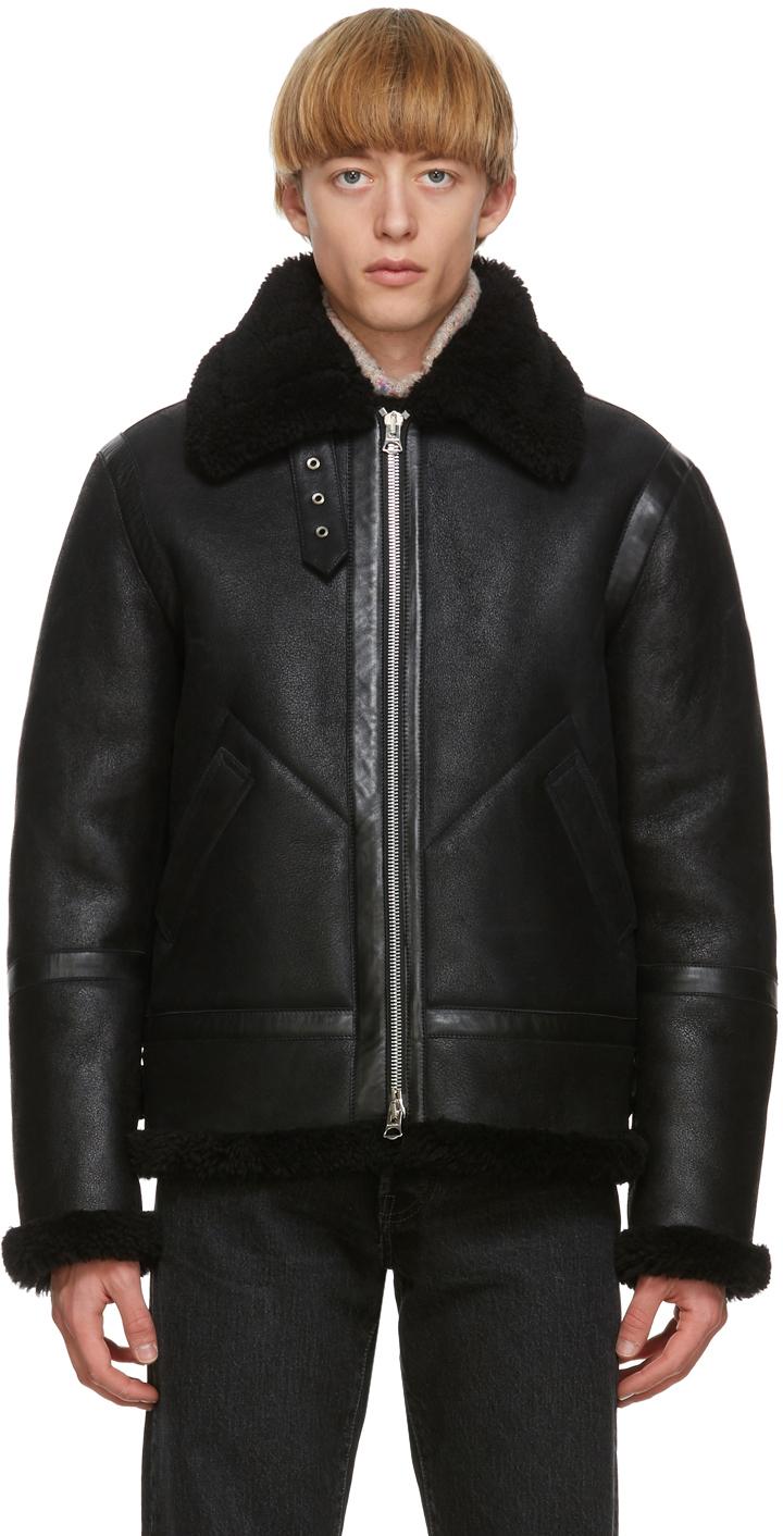 Acne Studios Black Shearling Aviator Jacket 202129M179086