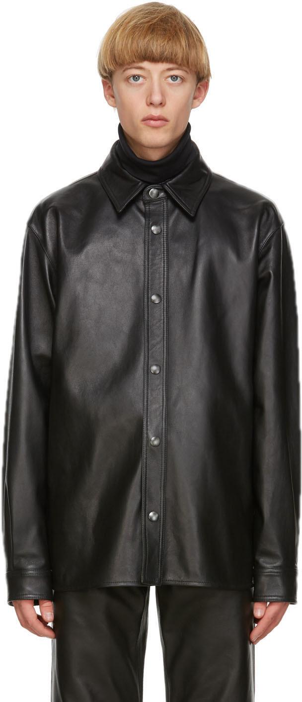 Acne Studios Black Leather Overshirt Jacket 202129M181080