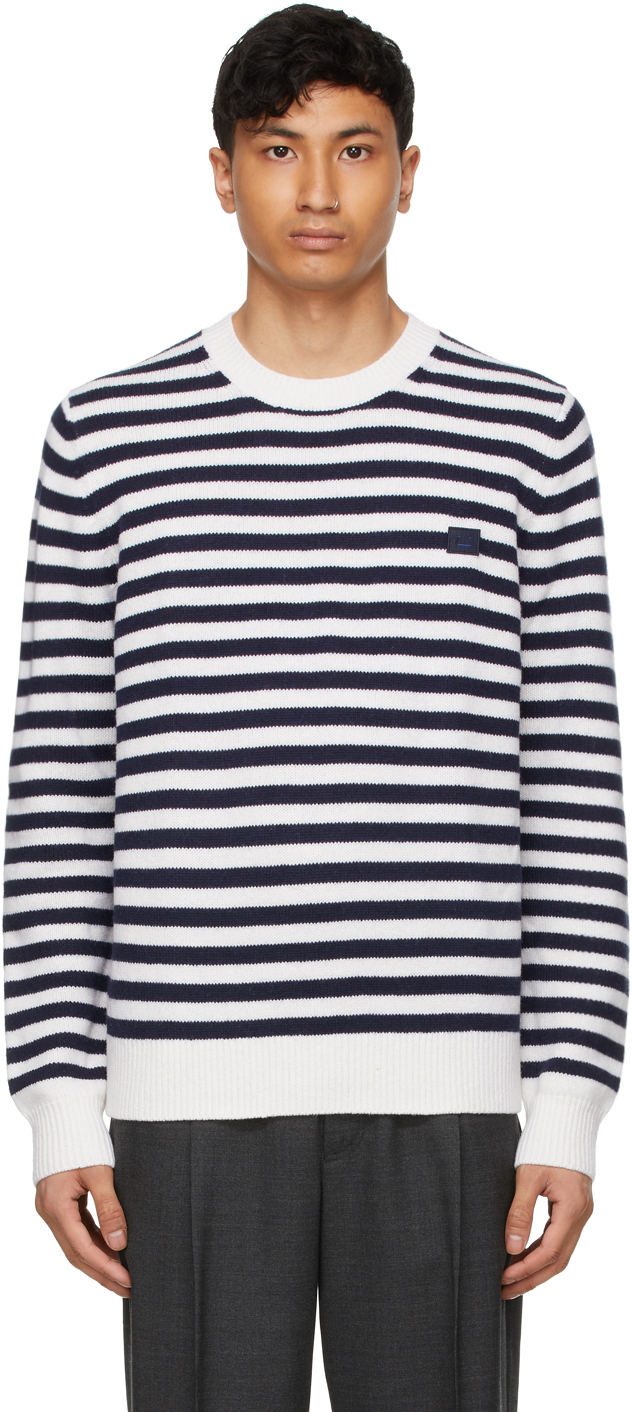 Acne Studios 海军蓝 & 白色 Breton 条纹羊毛毛衣