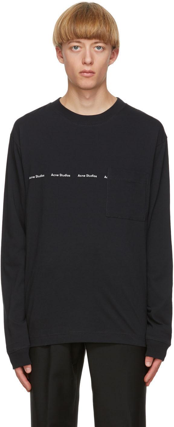 Acne Studios Black Logo Long Sleeve T Shirt 202129M213047
