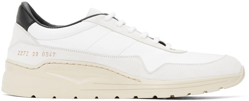 White & Black Cross Trainer Sneakers