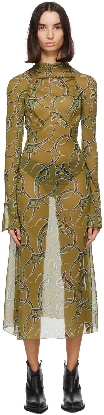 SSENSE Exclusive Green Serpent Dress