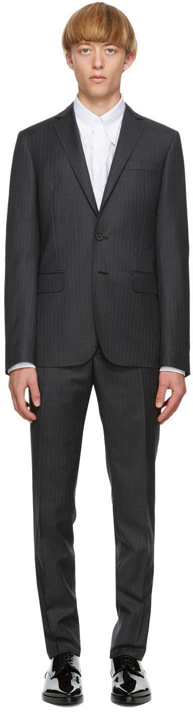 Grey Wool Striped Paris Fit Suit