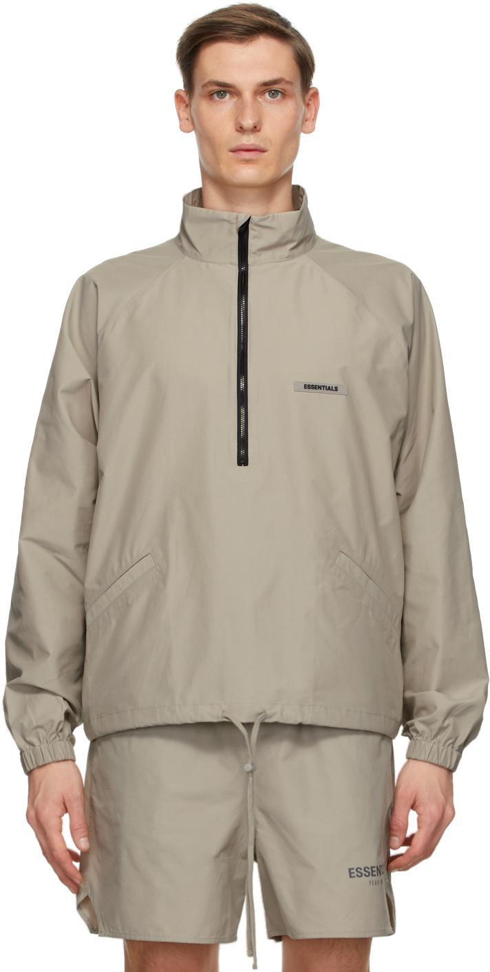 Grey Half-Zip Track Jacket