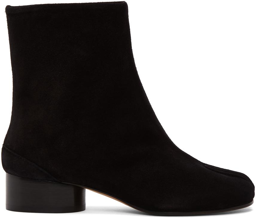 Maison Margiela 黑色 Tabi 绒面革踝靴