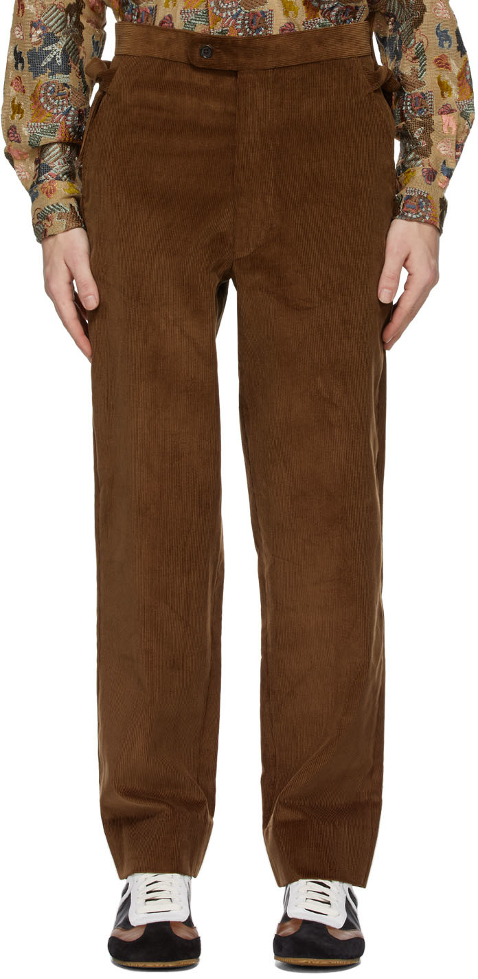Brown Corduroy Side-Tie Trousers