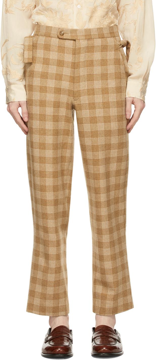 Beige & White Oatmeal Plaid Trousers