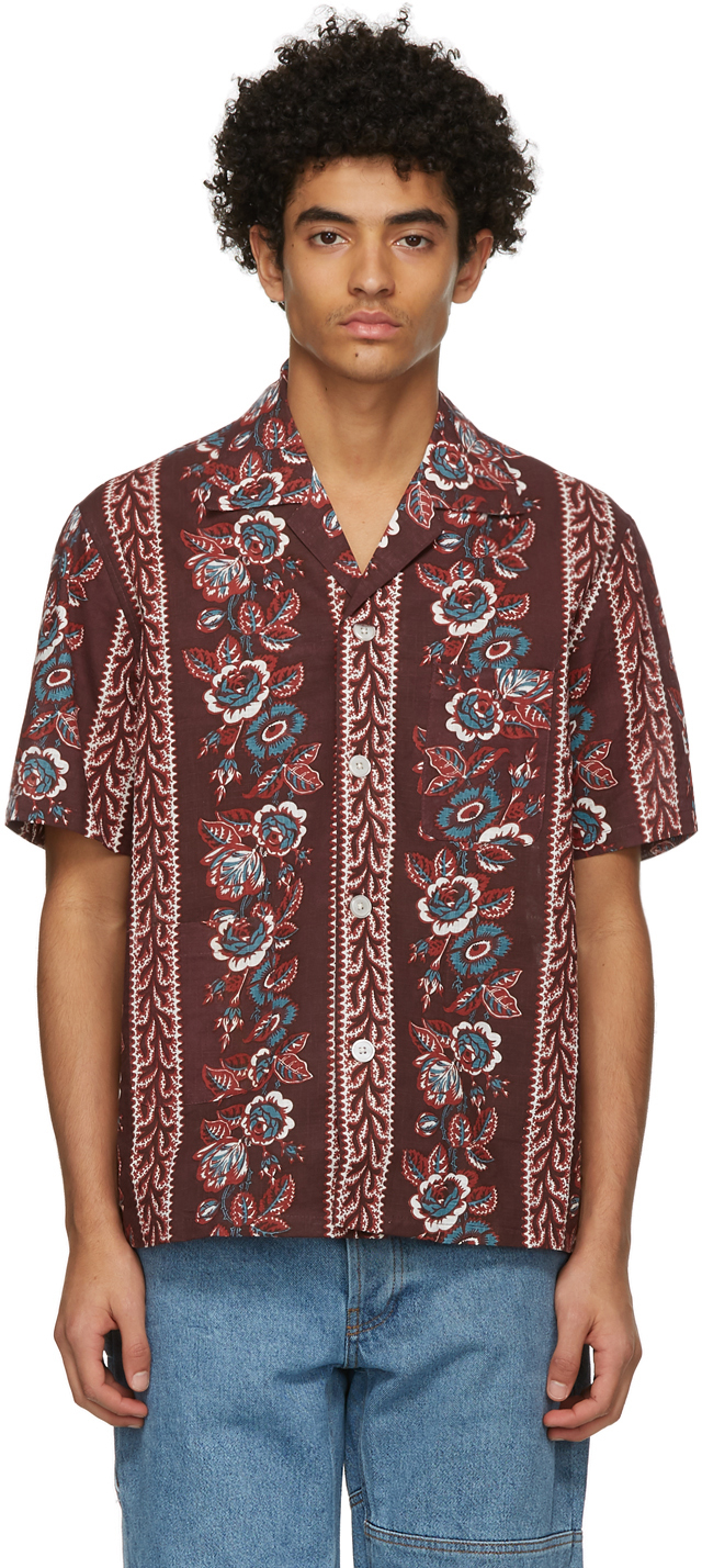 Burgundy Century Floral Short Sleeve Shirt