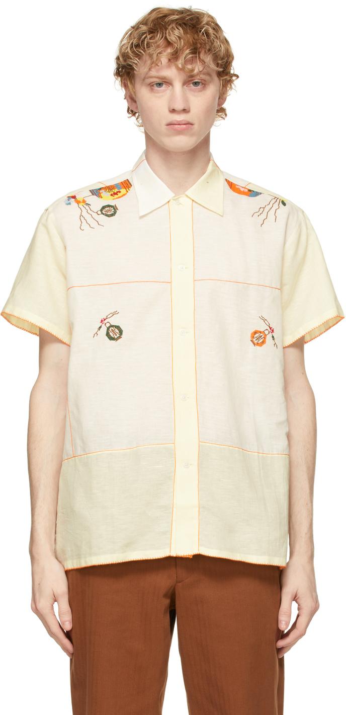 White & Yellow Sheer Lantern Bowling Short Sleeve Shirt