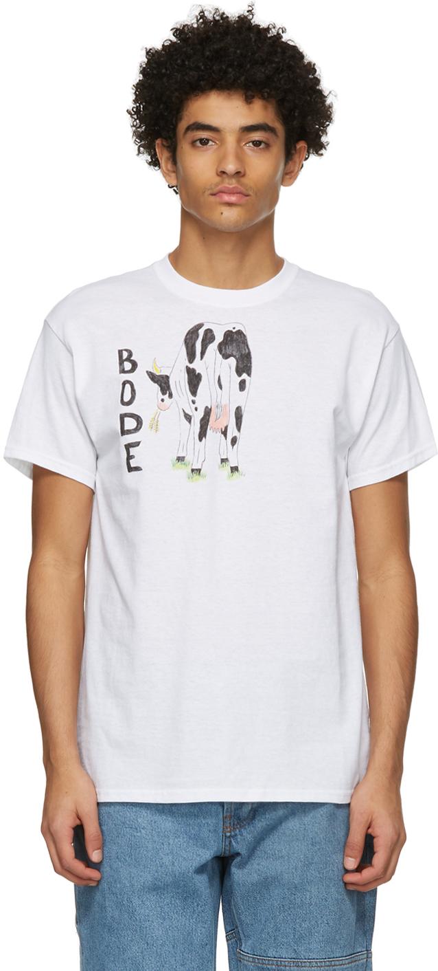 White Hand-Drawn Cow's Tail T-Shirt
