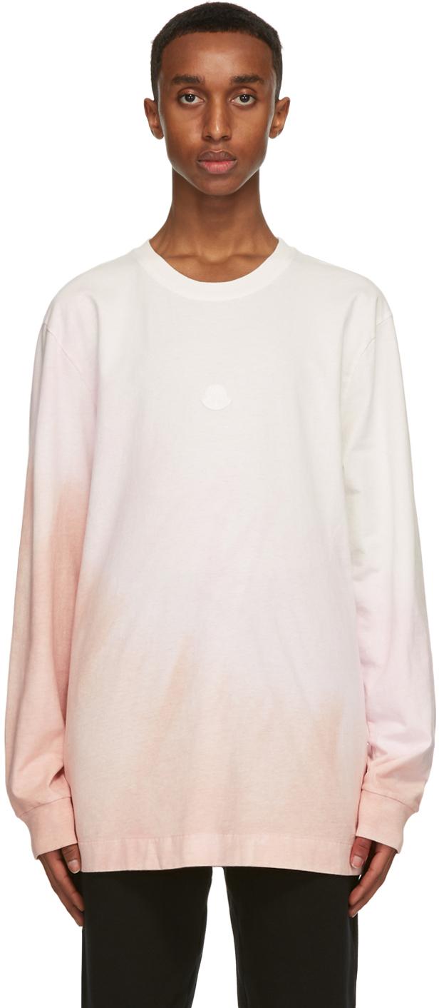 6 Moncler 1017 ALYX 9SM White & Pink Jersey Long Sleeve T-Shirt