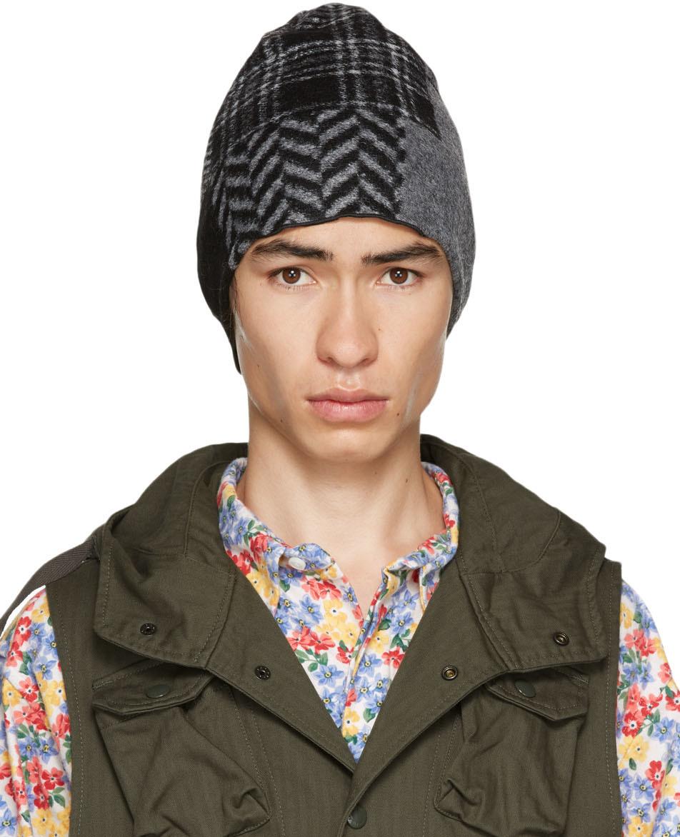 Engineered Garments 黑色 & 灰色拼布毛线帽
