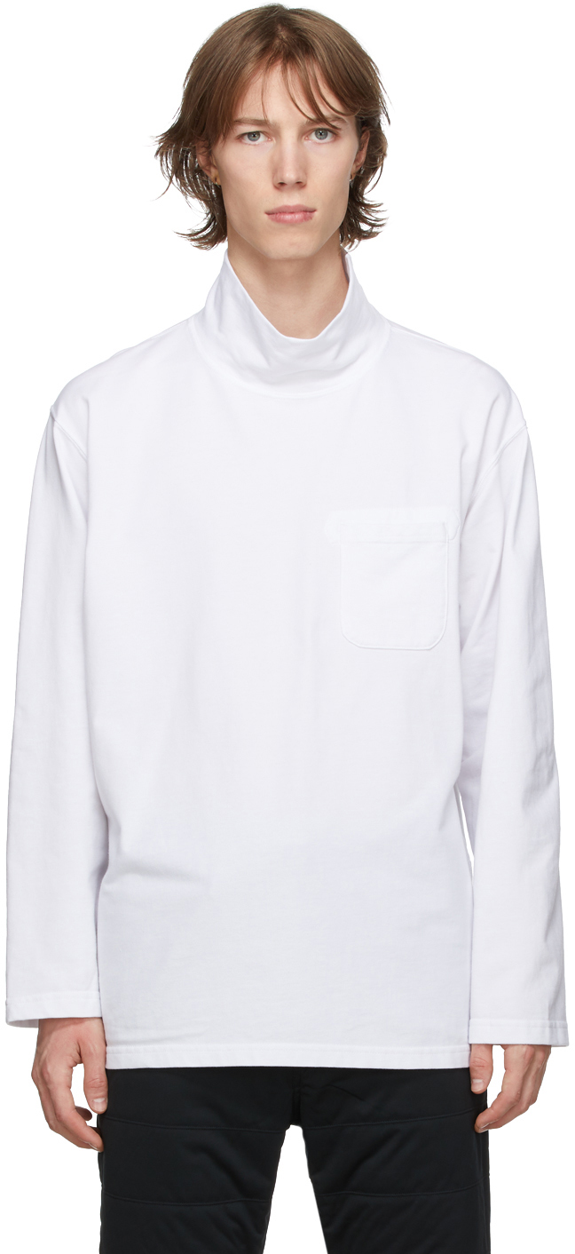 White Mock Neck Long Sleeve T-Shirt