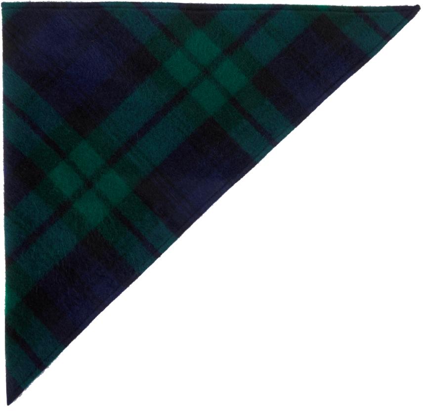 Navy & Green Knit Kerchief Head Scarf