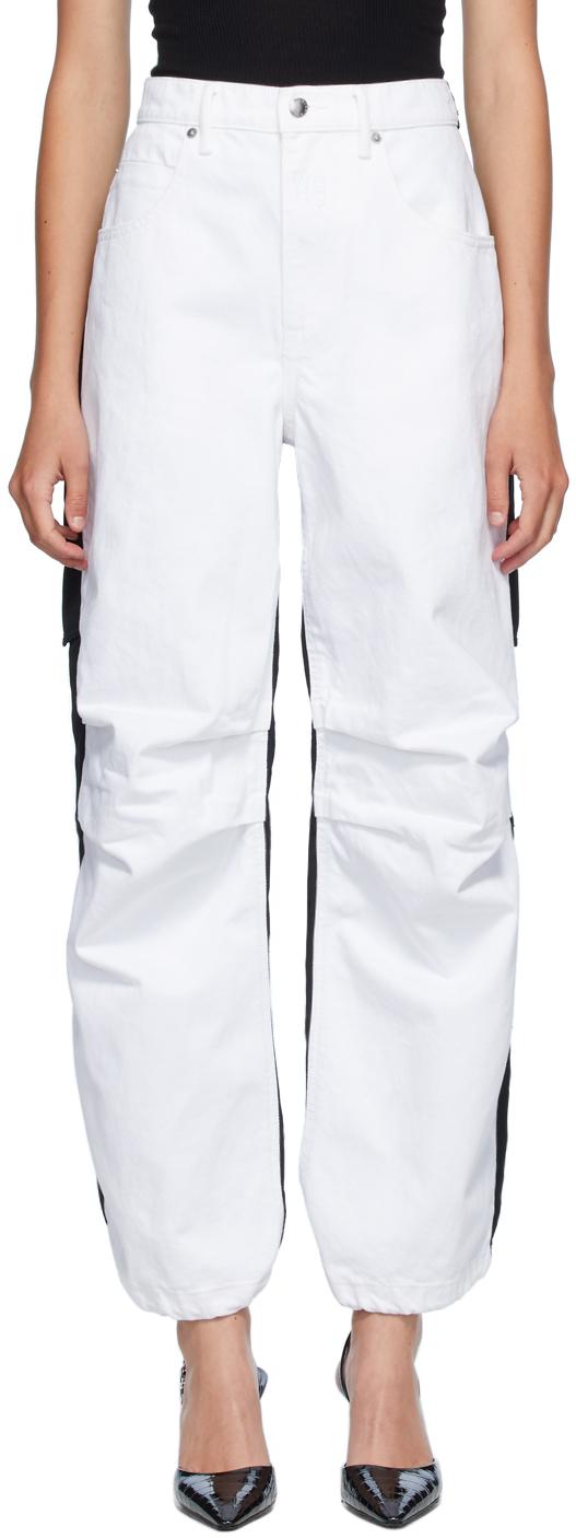 Alexander Wang White & Black Denim Hybrid Cargo Jeans