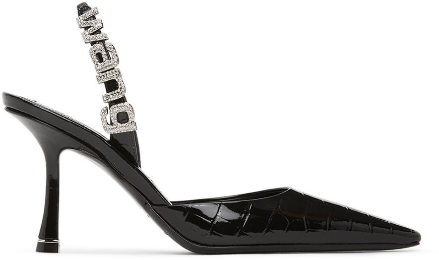 Black Croc Grace Slingback Heels by
