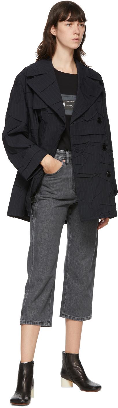 MM6 Maison Margiela ネイビー クラッシュ ウール トレンチ コート