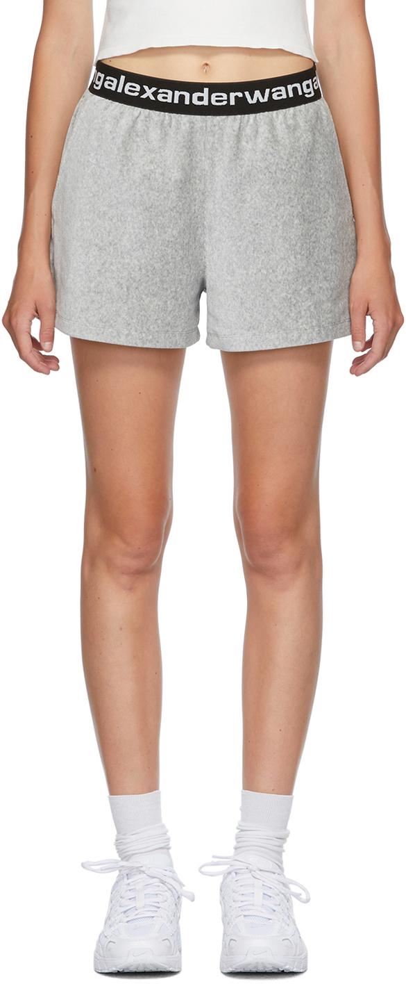Grey Corduroy Logo Shorts