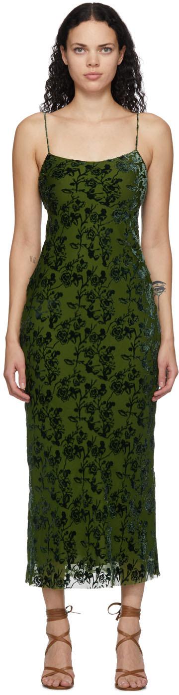 Green Velvet Burnout Bias Slip Dress
