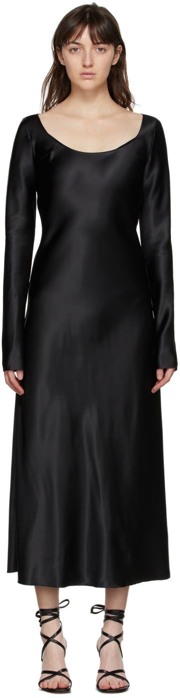 Black Heavy Satin Fluid Dress