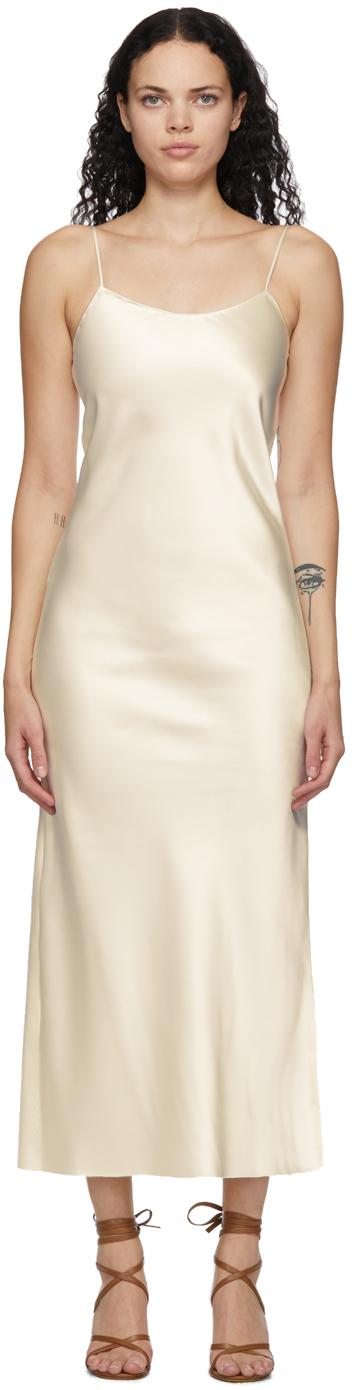 Off-White Heavy Satin Bias Slip Dress