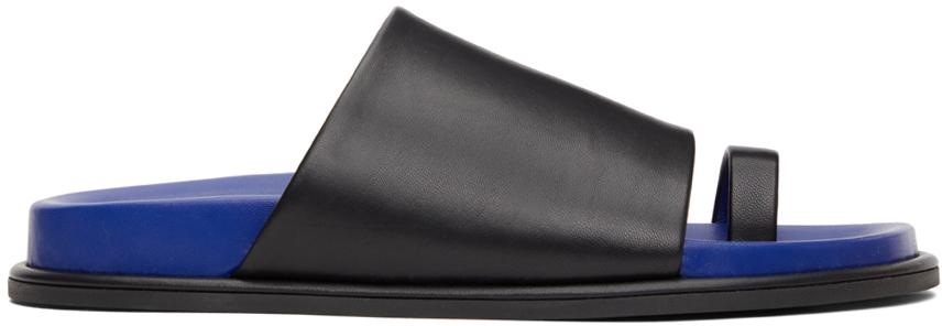 Black & Blue Flat Toe Strap Sandals