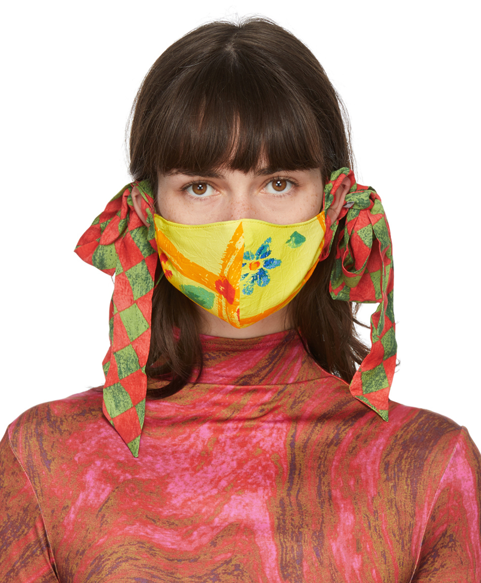 SSENSE Exclusive Yellow & Green Floral Bow Face Mask