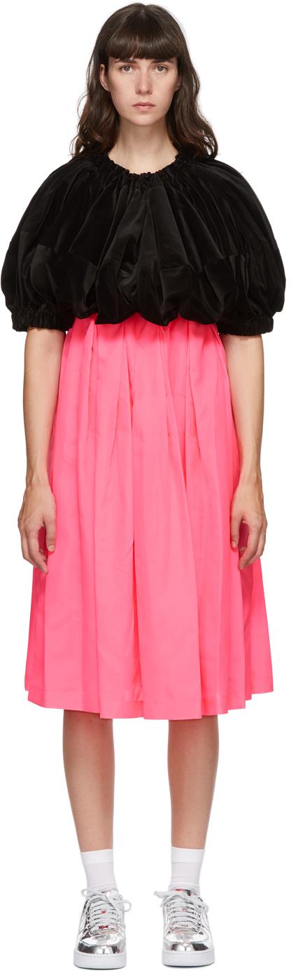 Black & Pink Velvet Midi Dress