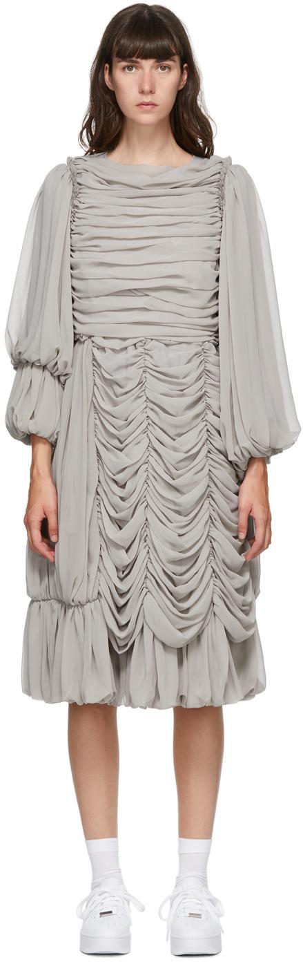 Grey Georgette Ruffle Midi Dress